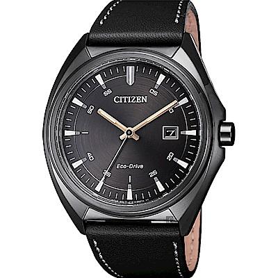 CITIZEN星辰 光動能紳士手錶(AW1577-11H)-鐵灰x黑/41mm