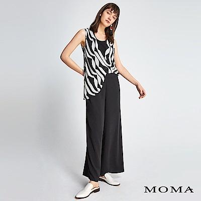 MOMA 黑白印花雪紡連身褲