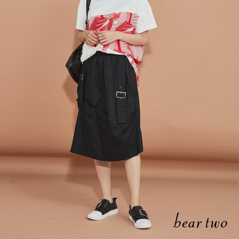 beartwo-簡約雙扣環休閒裙-黑
