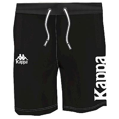 KAPPA義大利型男慢跑棉質半短褲 SLIM FIT 黑 白