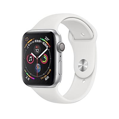 Apple Watch Series 4 LTE 44mm銀色鋁金屬錶殼白色運動型錶帶