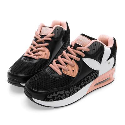 PLAYBOY魅力特調 豹紋拼接氣墊運動鞋-黑
