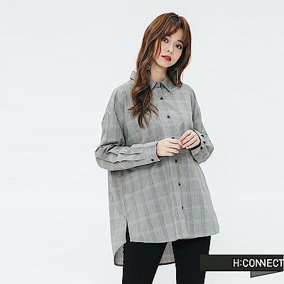 H:CONNECT 韓國品牌 女裝-簡約格紋襯衫-黑