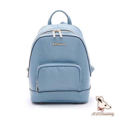 B.S.D.S冰山袋鼠-知性巴黎x簡約時尚通勤後背包-水漾藍