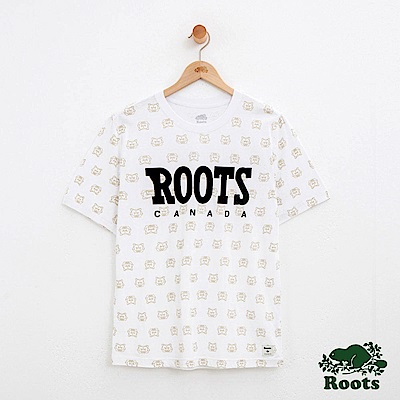 男裝Roots 動物滿版印花短袖T恤-白