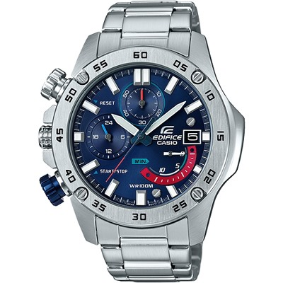 EDIFICE 三針三眼銀錶圈腕錶(EFR-558D-2A)/48mm