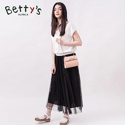 betty's貝蒂思 鬆緊腰帶拼接網紗百摺長紗裙(黑色)