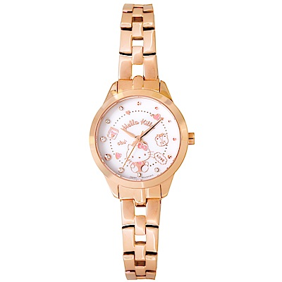 HELLO KITTY 凱蒂貓 微甜繽紛手錶 -白x玫瑰金x粉/27mm