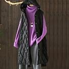 黑色菱格皮質連帽夾棉馬甲寬鬆無袖棉衣棉服外套-設計所在