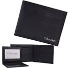 Calvin Klein黑色防刮立體LOGO真皮附活動卡夾雙摺短夾
