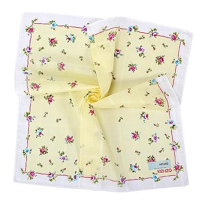 KENZO 經典氣質花卉純棉帕巾-奶油黃