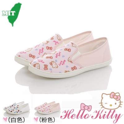 HelloKitty童鞋 輕量減壓防滑帆布懶人鞋-白.粉