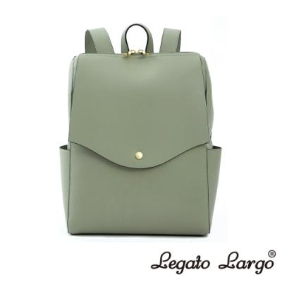 Legato Largo 驚異的輕量化 小法式簡約線條 皮革後背包 薄荷綠