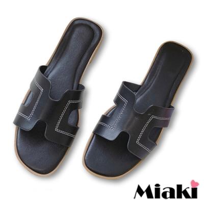 Miaki-拖鞋韓國時尚平底涼鞋-黑