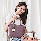 J&M 真皮坦尼婭手提吊飾包 芋藕紫