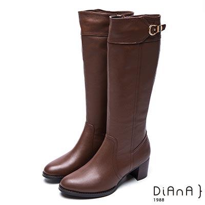 DIANA 時尚前線--復古經典皮帶式金屬飾釦真皮長靴-棕
