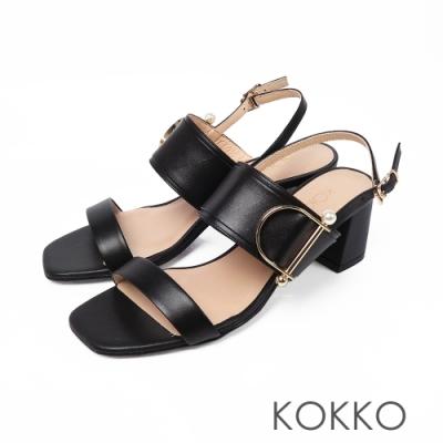 KOKKO小香風珍珠牛皮粗跟方頭涼鞋-經典黑