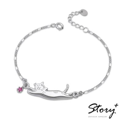 STORY故事銀飾-貓小姐系列-陪我玩純銀貓手鍊