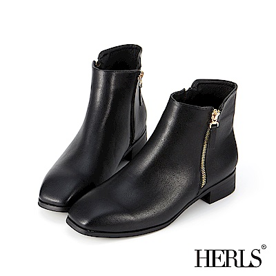 HERLS 自在個性 雙拉鍊素面方頭短靴-黑色