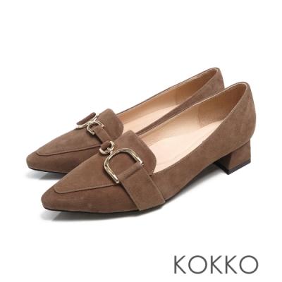 KOKKO - 千言萬語金扣真皮尖方頭鞋-淺駝灰
