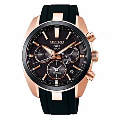 SEIKO 精工 雙時區太陽能GPS衛星錶-黑金(SSH024J1/5X53-0AJ0K)