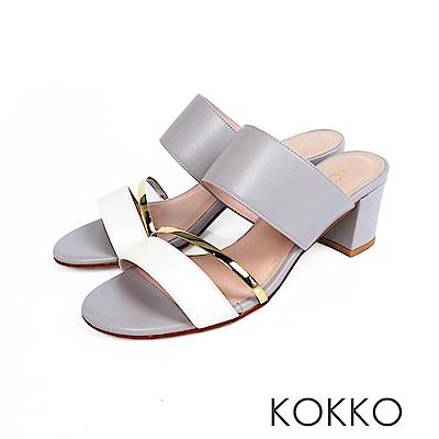 KOKKO - 女王盛宴撞色拼接涼拖粗跟鞋 - 清莫蘭