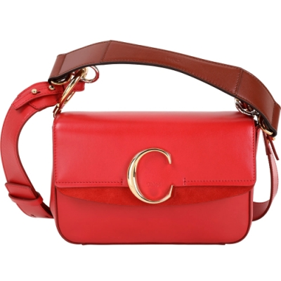 CHLOE C Bag 小款 光滑小牛皮拼接麂皮肩背手提兩用包(紅色)