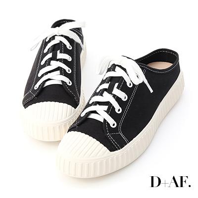 D+AF 隨性日常.休閒帆布穆勒餅乾鞋*黑