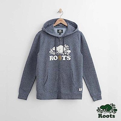 Roots 男裝-周年系列 松果連帽外套-藍