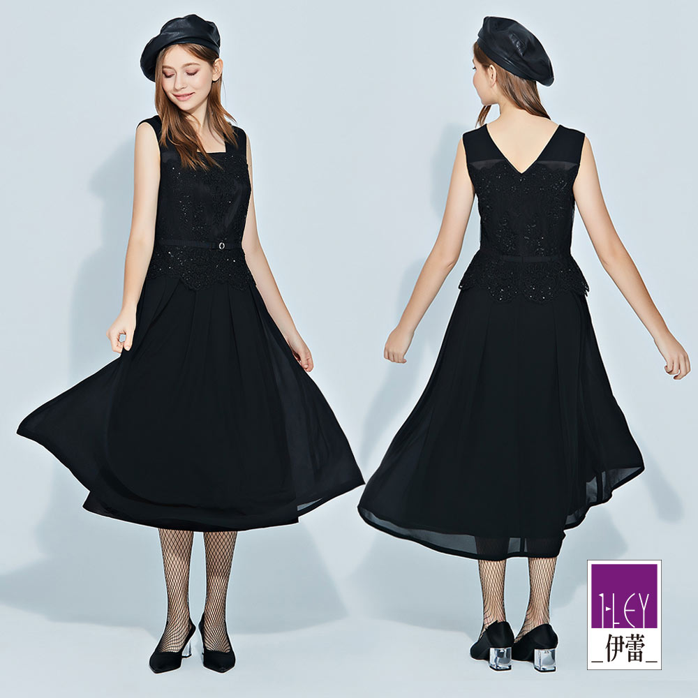ILEY伊蕾 精緻蕾絲手縫亮片剪接雪紡長洋裝(黑)
