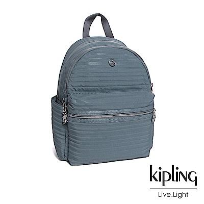 Kipling 後背包 質感條紋藍灰素面-大