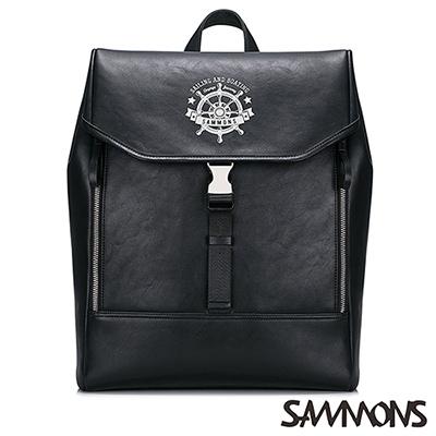 SAMMONS 歐風加勒比海後背包 帥氣黑