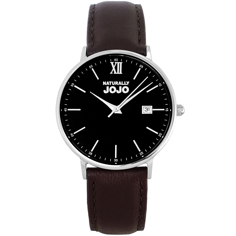 NATURALLY JOJO 簡約風尚真皮手錶男錶-黑X咖啡/41mm
