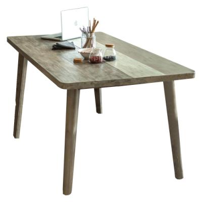 【AT HOME】工業仿舊6尺木紋實木餐桌/工作桌/洽談桌(哈瓦那)