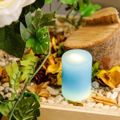 【生活工場】RICH ROSE全蠟充電式LED蠟燭燈中型M號藍色