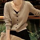 SQUA V領排扣素色針織外套-二色-(S~L)