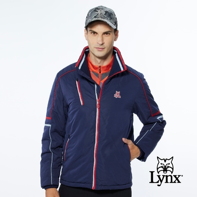 【Lynx Golf】男款保暖防風鋪棉兩袖配色拉線設計胸袋款長袖立領外套-深藍色