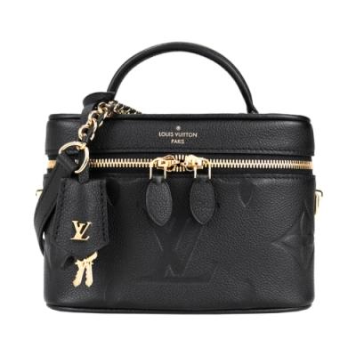 Louis Vuitton 經典VANITY 系列Reverse帆布皮革飾邊鏈帶手提/斜背包(黑)