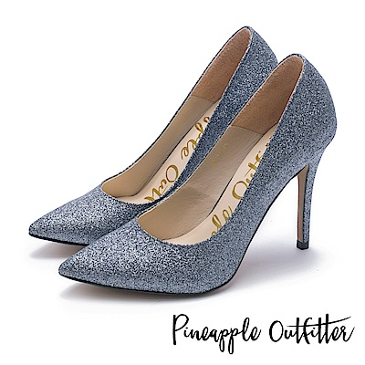 Pineapple Outfitter 簡約奢華 璀璨羊皮尖頭高跟鞋-銀色