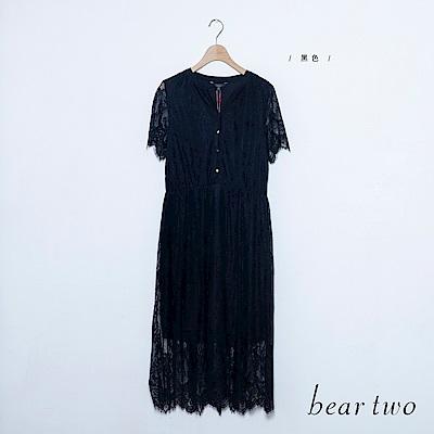 beartwo 浪漫蕾絲收腰洋裝(黑色)