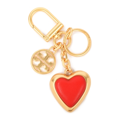 TORY BURCH 經典LOGO愛心造型皮革鑰匙圈(包包掛飾)-亮紅色
