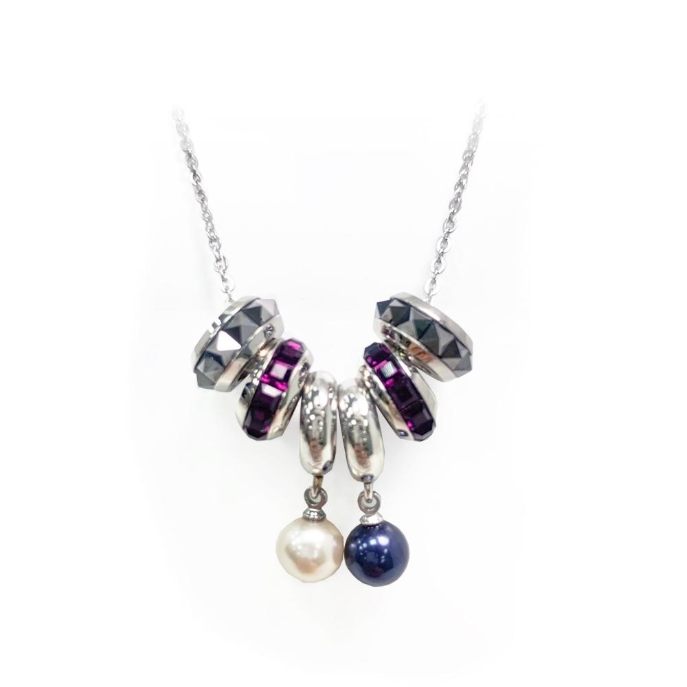 Brosway 施華洛世奇水鑽不鏽鋼項鍊  2珍珠