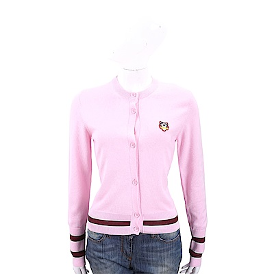 KENZO Tiger Crest 虎頭補丁條紋細節粉色開襟針織衫