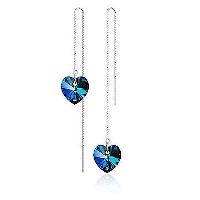 米蘭精品 925純銀耳環-海洋之心長款耳環