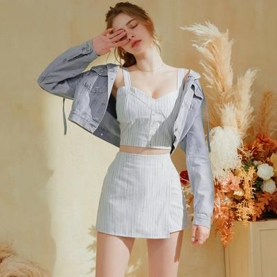 AIR SPACE 直紋排釦背心褲裙套裝(白)