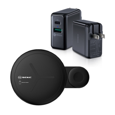 【SEKC】2合1 手機/Apple Watch雙用10W無線快充盤+【PROBOX】PD/QC3.0雙孔快充頭 黑色