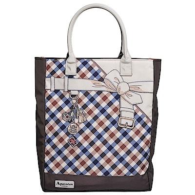 Aquascutum 品牌格紋造型吊飾圖騰轉印手提肩背購物包(咖啡色)