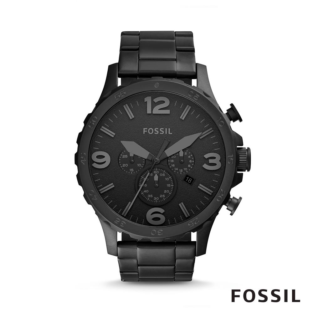 FOSSIL NATE 不鏽鋼計時男錶-黑色 約50mm JR1401