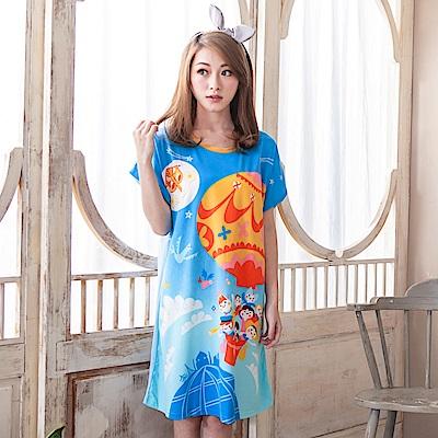 Young Curves 牛奶絲質短袖連身睡衣(C01-100566藍天熱氣球)