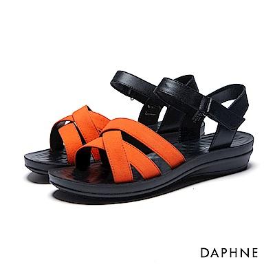 達芙妮DAPHNE 涼鞋-交叉條帶按摩顆粒撞色平底涼鞋-桔紅